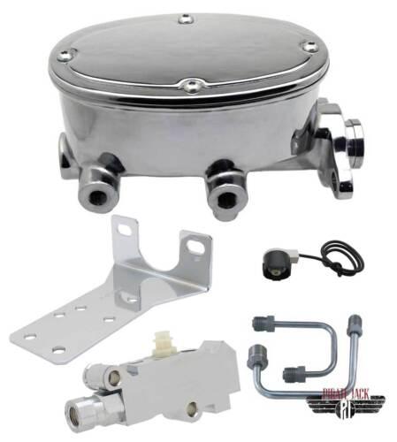 "4 Wheel Disc GM Universal Chrome Oval Master Cylinder Kit 1.125/"" Bore /& Valve"