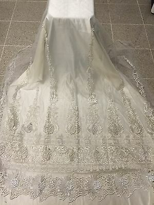 """OFF WHITE MESH W/ BORDER EMBROIDERY BRIDAL LACE FABRIC 50"""" WIDE 3 YARD"""