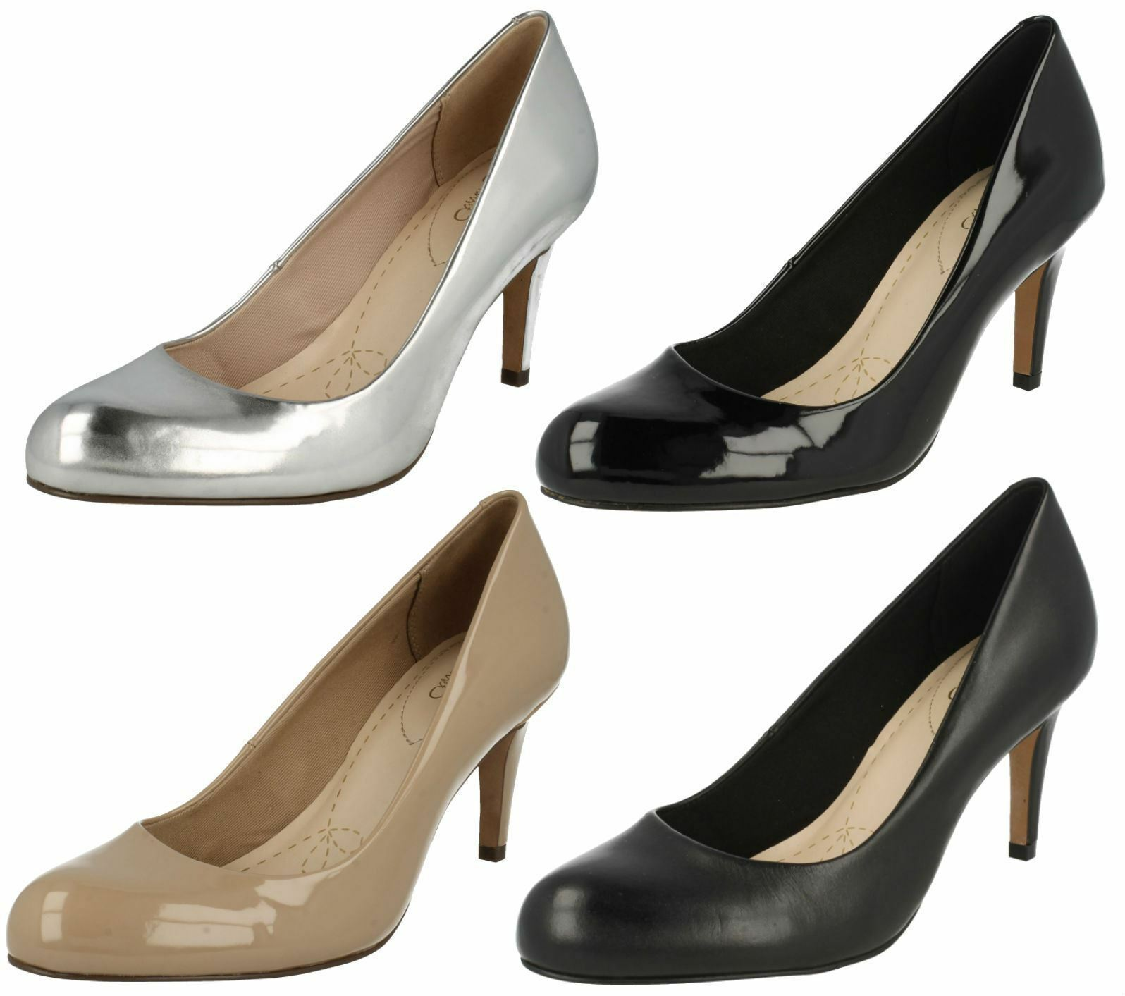 Ladies Clarks Court Shoes 'Carlita Cove' 4 Colours- D Fitting- Great Price