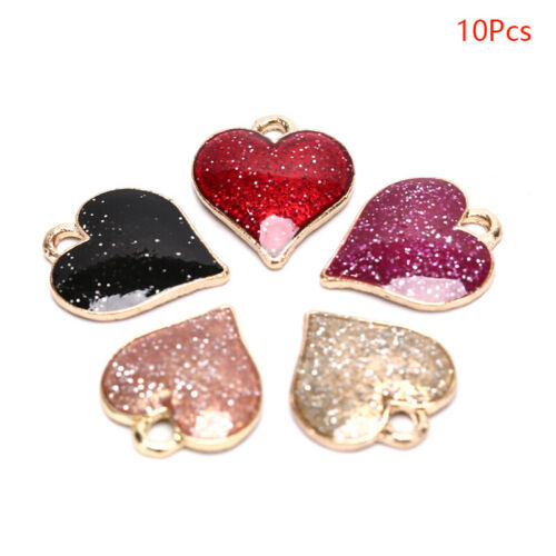 10Pcs Shiny Heart Enamel Alloy Charms Pendant DIY Handmade Jewelry Findings ODUS
