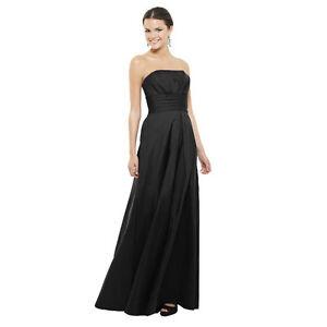 A-Line-Strapless-Pleated-Taffeta-Formal-Evening-Gown-Bridesmaid-Dress-Black