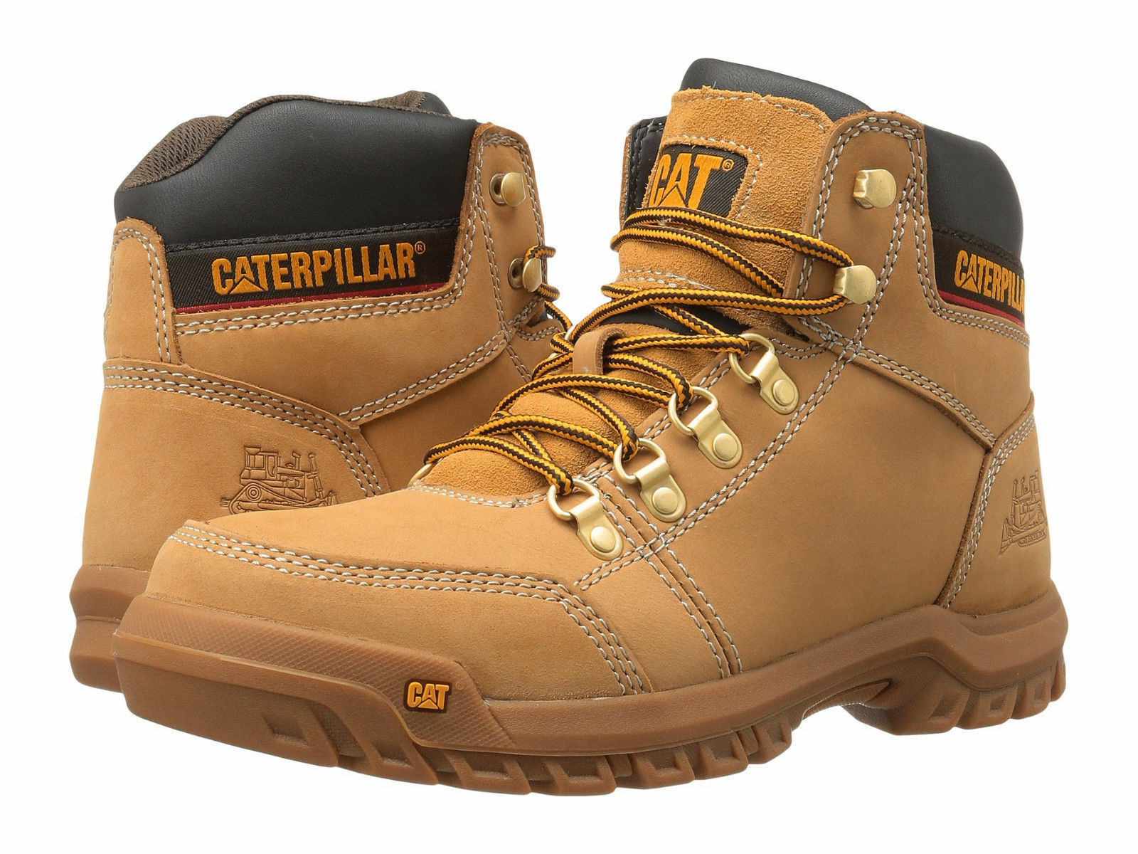 Men Caterpillar Outline Soft Toe Work Boot P74086 Honey 100% Authentic Brand New