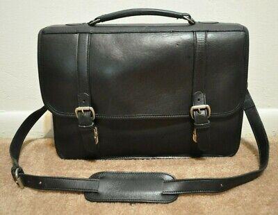 Levenger Black Leather Briefcase Messenger Shoulder Bag Professional Business Ebay