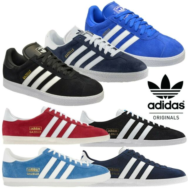 Mens Adidas Gazelle Ii White Leather Trainers Outdoor Black Blue