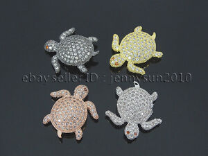 Zircon-Gemstones-Pave-Turtle-Bracelet-Connector-Charm-Beads-Silver-Gold-Gunmetal
