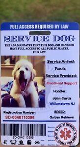 Service-Dog-Card-ID-Assistance-Animal-Badge-ADA-ESA-with-Barcode
