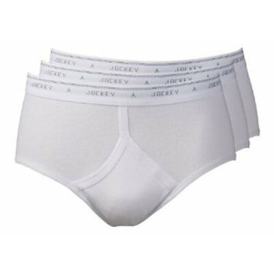 Jockey Men's Classic Y-Front Brief Pants 3 Pk in White RRP £18 *BWNT*