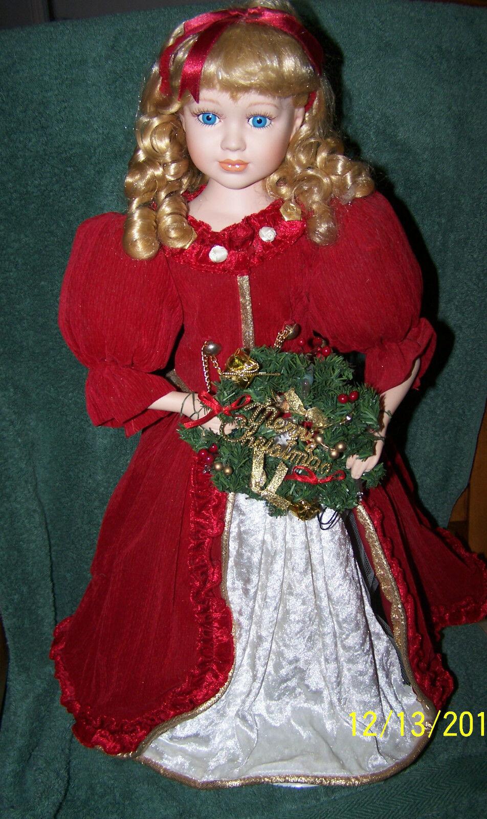 "Gorgeous Blond e blu Eyed  Light Up Merry Christmas bambola, 24"" Ttuttirosso & bianca  vendita calda online"