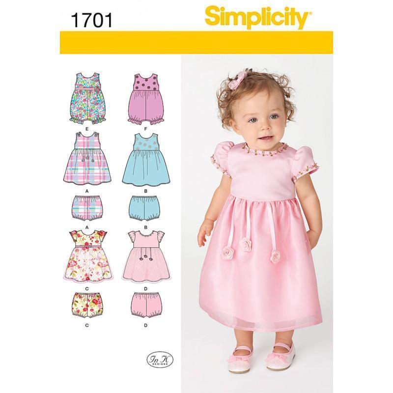 Simplicity Nähmuster Babys Kleid Strampler Separate XXS - L 1701   eBay