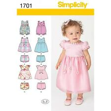 SIMPLICITY SEWING PATTERN BABIES DRESS ROMPER  SEPARATES XXS -L 1701 ONLY