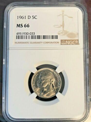 1961-D 5C Jefferson Nickel NGC GEM UNCIRCULATED MS66