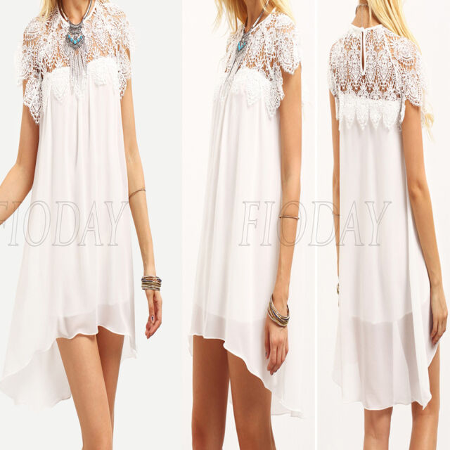 Summer Women Chiffon Short Sleeve Lace Crochet Cocktail Evening Party Mini Dress