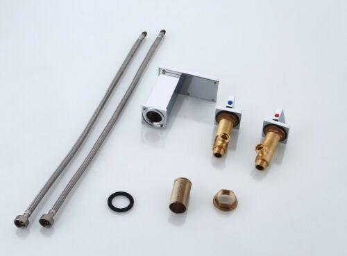 Details about  /3PCS LED Bathroom  Waterfall 2 Handles Basin Faucet Deck Mount Sink Mixer Taps