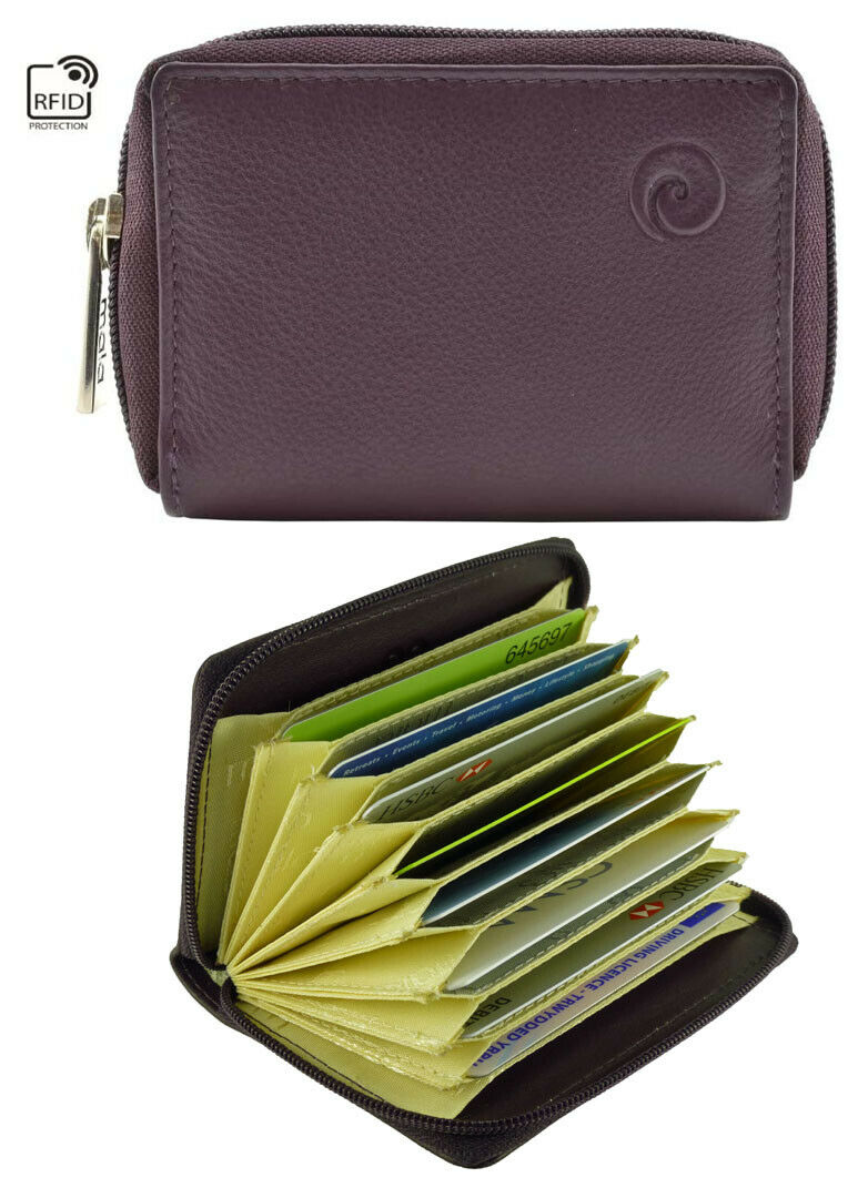 ***OFFER REDUCED*** Real Leather Concertina Fan Card Holder RFID - Mala Plum