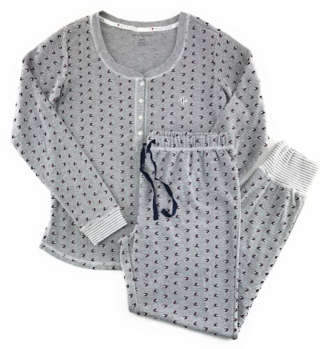 Tommy Hilfiger Women/'s Pajama Set Henley Long Sleeve Thermal Gray Heart Flags