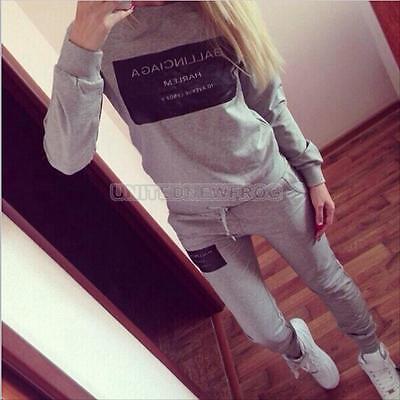 Women Letter Print Tracksuit Hoodie Sweatshirt Coat + Pants Casual Sport Suit