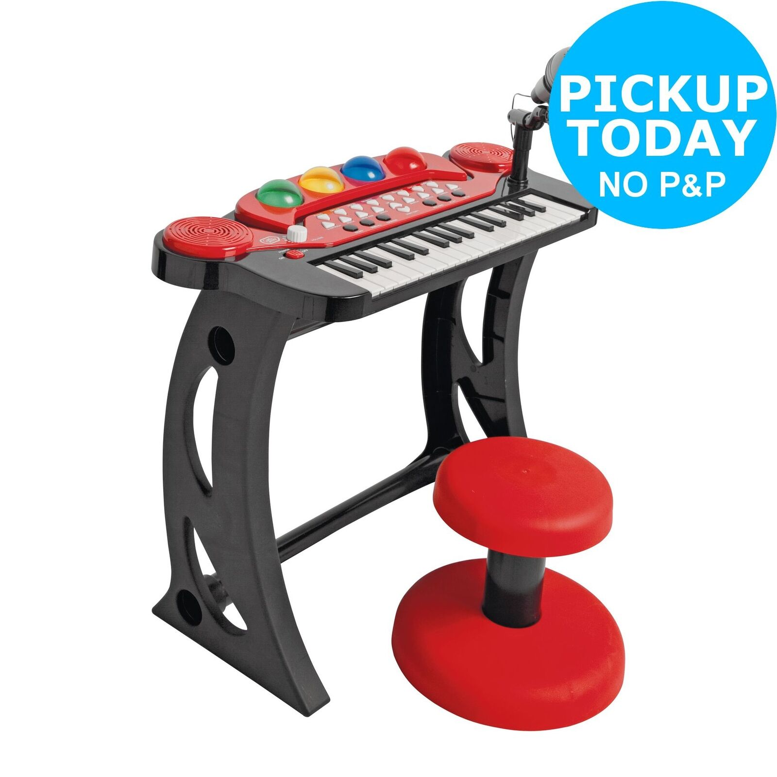 Chad Valley Sing Along Keyboard, Stand and Stool - Red.