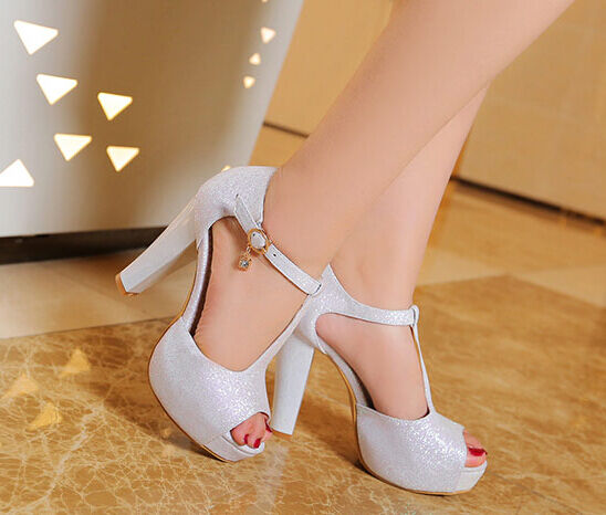 Schuhe ciabatte sabot Sandaleei tacco alto 11.5 cm plateau bianco elegante 9309