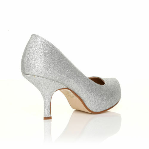 f816348154b Womens Mid Heel Casual Smart Work Pump Ladies Court Shoes Size 3-8 Silver  Glitter 41 UK 8