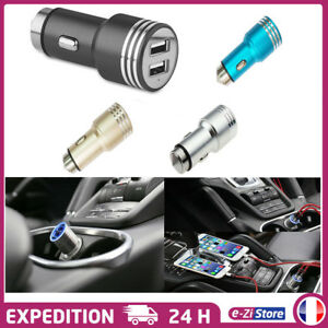 CHARGEUR-VOITURE-ALLUME-CIGARE-USB-DOUBLE-PORT-2A-UNIVERSEL-IPHONE-SAMSUNG-iPAD