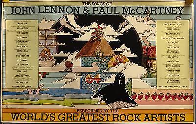 """Songs Of John Lennon & Paul McCartney 22""""x35"""" In Store Promo Poster 1977 Beatles"""