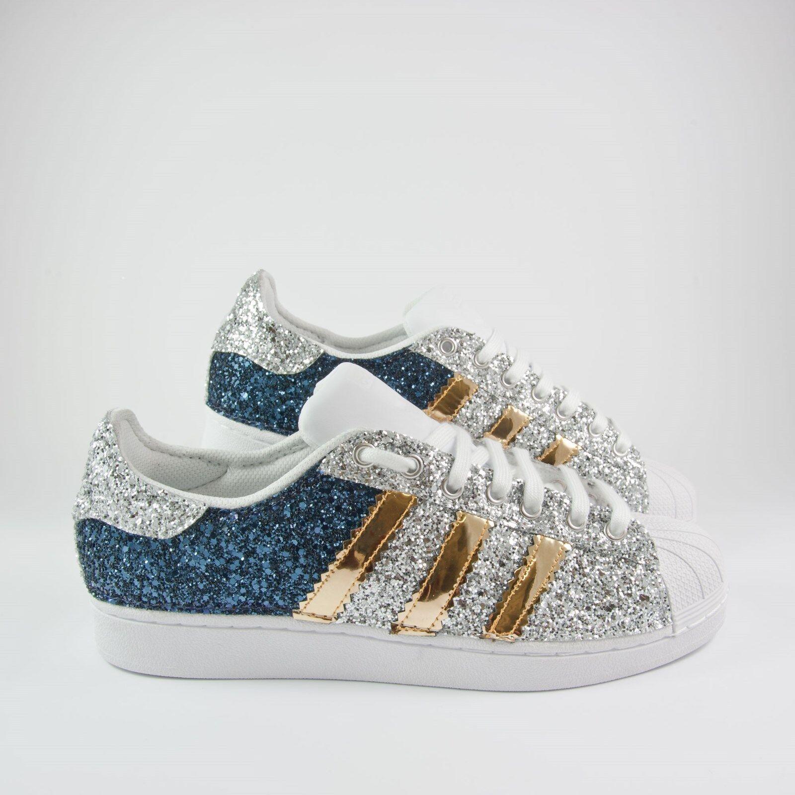 Scarpe adidas superstar con piu lustrini blu e argento piu con 'specchiato oro glitter dbea83