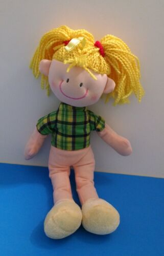 "Smiling Blonde Girl Pigtails Yarn Hair 12"" Doll Plush"