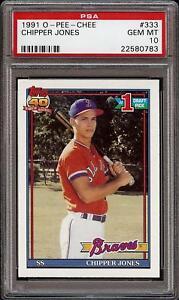1991-O-Pee-Chee-OPC-333-Chipper-Jones-Braves-Rookie-RC-HOF-PSA-10-Gem-Mint