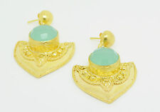 OttomanGems semi precious gem stone gold plated earrings chalcedony tribal