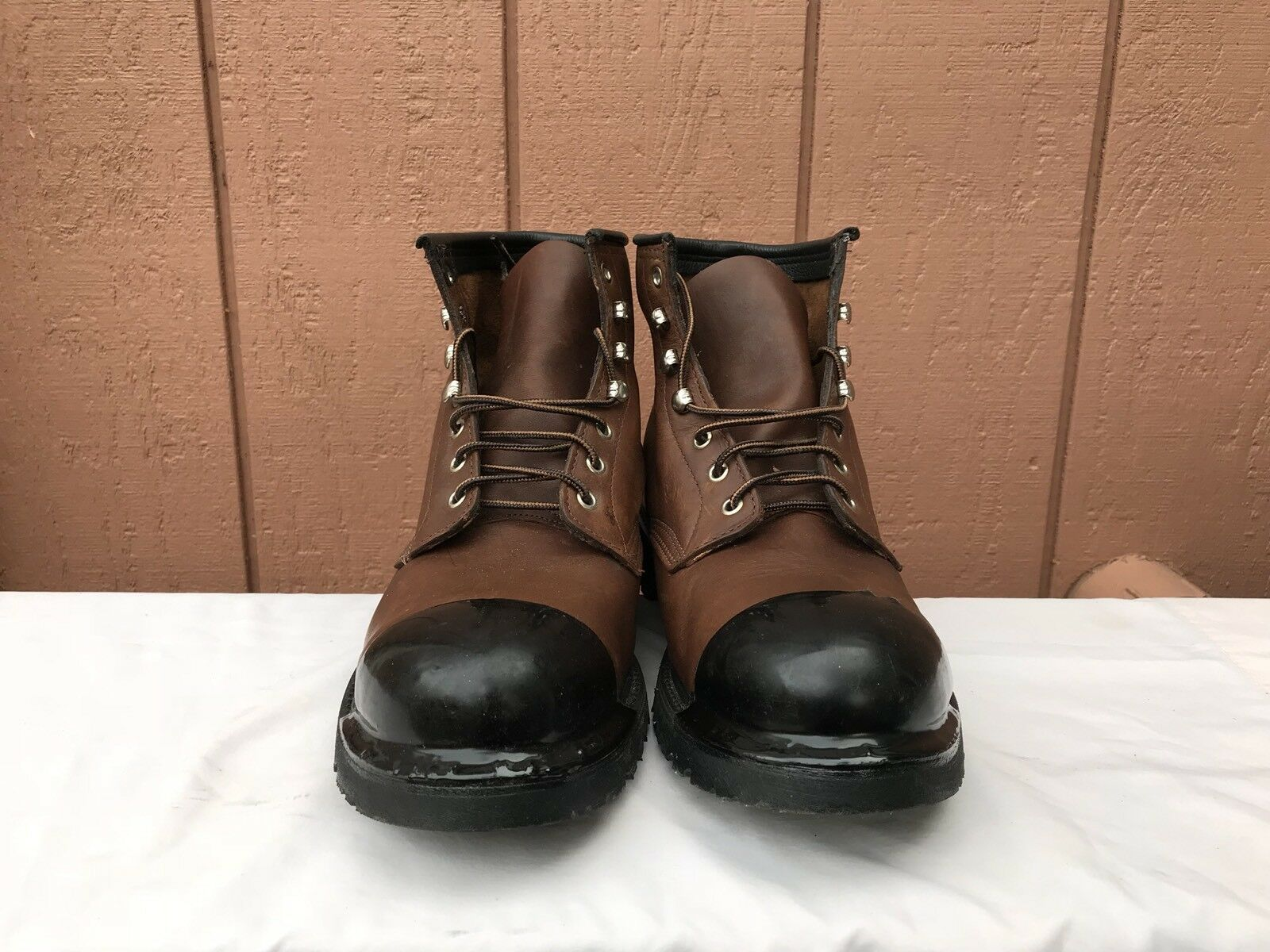 MINT RARE CAROLINA US 13EE BROWN LEATHER LEATHER LEATHER WORK OUTDOOR STEEL TOE BOOTS SHOES b0d881