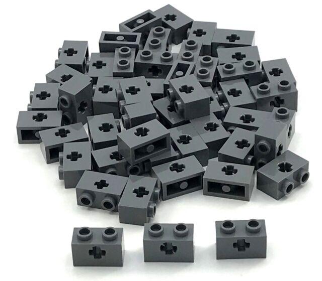 Lego 100 New Dark Bluish Gray Technic Bricks 1 x 2 with Axle Hole Pieces
