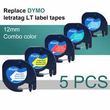 5pk 91331 91335 Plastic Tape 12 Compatible Dymo Letratag Label Maker Lt 100h