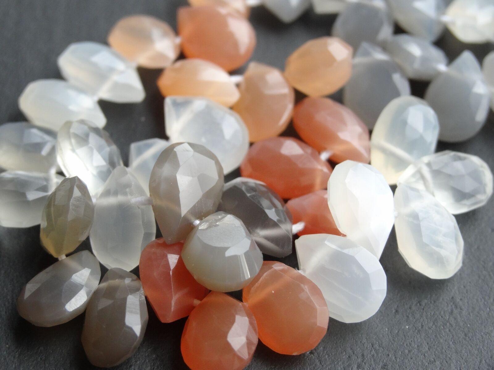 Handgemacht Mondstein Tropfen ca. 7.5x10mm 10   45 Perlen