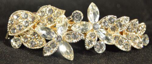 7cm Arched crystal flower gold gilt barrette hair clip fashion wedding