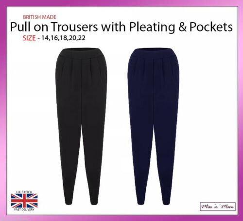 New Ladies Soft Jersey Pull On Trousers with Pleating /& Pockets Plus Sizes 14-22