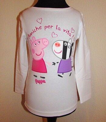 PEPPA PIG WUTZ Langarm Shirt LOVE Gr. 98-128 Pulli Pullover Mädchen weiß NEU