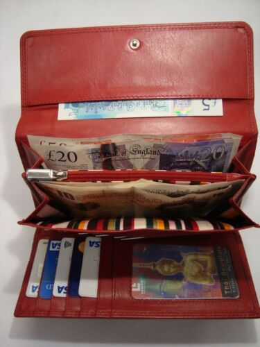 Ladies Leather Purse Wallet Organiser Red wtih Many features Top Brand RFID
