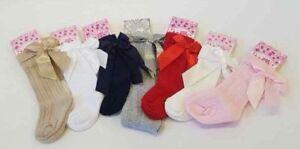 NEW-Spanish-Romany-Style-Baby-Girls-Knee-High-Socks-Ribbon-Bow-Newborn-6-year