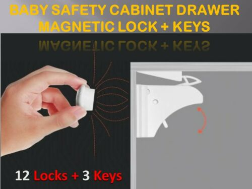 Invisible Magnetic Baby Safety Locks Child Pet Proof Cupboard Door Drawers Kit**
