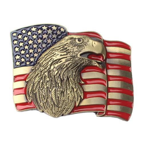Antique Gold Alloy American Flag Belt Buckle 3D Eagle Head Cowboy Retro Men
