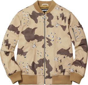 Supreme Leather Ma 1 Jacket Desert Camo M L Box Logo Camp