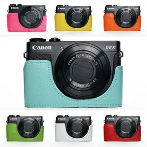 Handmade Genuine Real Leather Half Camera Case Camera bag for CANON G9 X 7 Colors