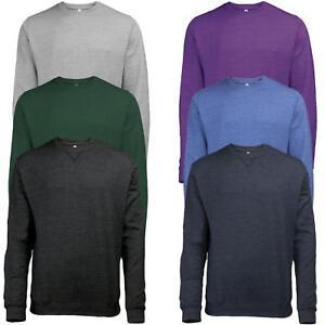 Para-hombre-Plain-Jumper-De-Lana-Cuello-Redondo-raglan-Sudadera-Clasico-Work-Wear-Sweater