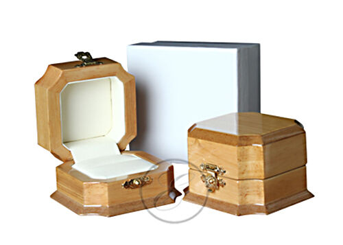 Executive Wooden Single Ring Jewellery Storage Boxes  Maple Black Mahogany Box