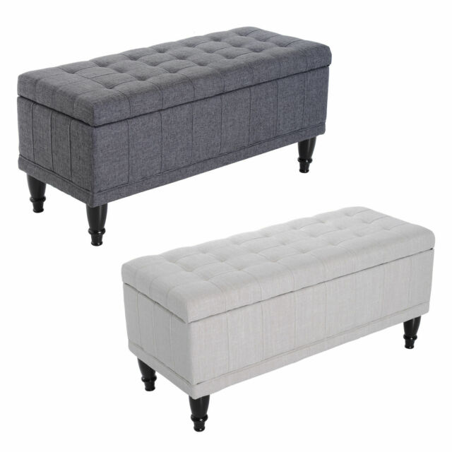 42 Lift Top Storage Ottoman Tufted Fabric Shoe Bench Footrest Stool Seat