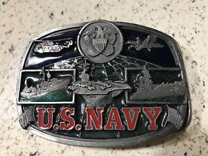 Vintage-1991-US-Navy-Belt-Buckle-Metl-Made-in-USA-3-color-A1