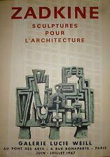 Zadkine Affiche Lithographie Mourlot 1967 abstraction art abstrait sculpture