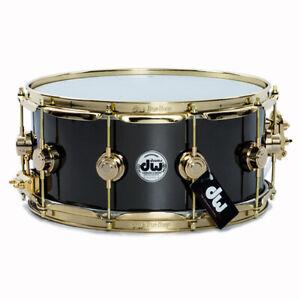 Drum-Workshop-14x6-5-Black-Nickel-Over-Brass-Snare-Drum-w-Gold-Hardware