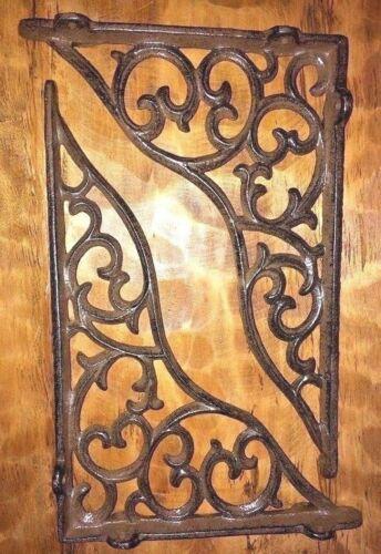 SET OF 2 LARGE VICTORIAN VINE SHELF BRACKET BRACE Rustic Antique Brown Cast Iron