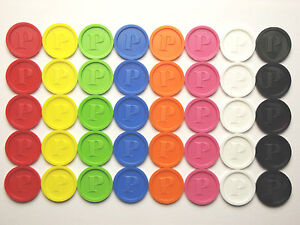 Pfandmarken-Wertmarken-Getraenkemarken-P-8-Farben-versch-Mengen
